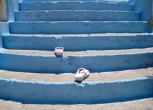 走台阶的啪嗒啪嗒的响声 免版税库存照片