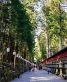 走向寺庙的人们在日光,日本 库存图片