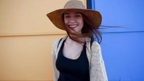 走和享受晴朗的夏日的俏丽的年轻微笑的妇女游人 影视素材