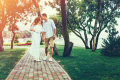 走和亲吻在夏天公园的美好的夫妇 一起享受生活方式概念 免版税库存照片