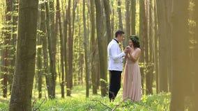 走和亲吻在春天晴朗的森林的美好的年轻婚礼夫妇 影视素材