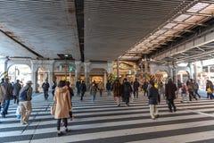 走和购物在ueno区的步行者在度假 免版税库存图片