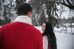走在一个多雪的公园的男人和妇女 库存图片