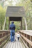 走在一个木桥的爸爸和小孩女儿在公园 免版税库存照片
