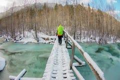 走在一条冻绿松石冰河的一座桥梁的女孩背包徒步旅行者在山的冬天森林里 库存照片