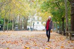 走在一秋天天的美丽的女孩 库存图片