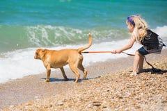 走在与狗的海滩的小女孩 免版税库存图片