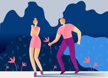 走在公园动画片舱内甲板的浪漫夫妇 向量例证