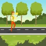 走在公园和使用智能手机对短信的消息,平的传染媒介例证的年轻人 免版税库存图片