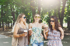 走在公园的三个美丽的年轻boho别致的时髦的女孩 库存照片