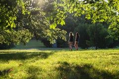 走在公园的两个女孩 库存照片