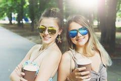 走在公园的两个美丽的年轻boho别致的时髦的女孩 库存照片