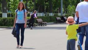 走在公园的人们 股票录像