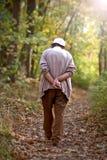 走在公园的孤独的老人 免版税库存照片