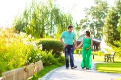 走在公园的愉快的怀孕的夫妇 库存照片