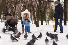走在公园的愉快的年轻家庭在冬天 库存照片