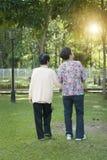 走在公园的背面图亚裔年长妇女 库存图片