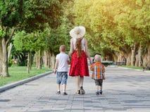 走在公园,晴天的妈咪和两个儿子 回到视图 库存照片