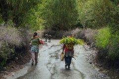 走在农村路的藏族 免版税库存照片