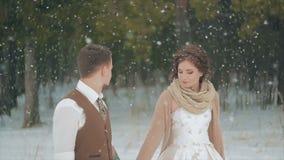 走在冬天圣诞节降雪的被弄脏的爱恋的夫妇 影视素材