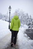 走在冬天城市公园的妇女 库存图片