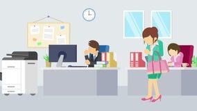 走在办公室的女实业家 营业通讯概念 企业队工作 平的圈动画 向量例证