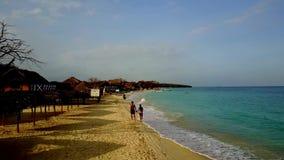 走在加勒比海滩的可爱的夫妇 影视素材