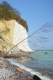 走在吕根岛海岛白垩岩石的人们  免版税库存照片