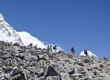 走在喜马拉雅山的背包徒步旅行者 免版税库存图片