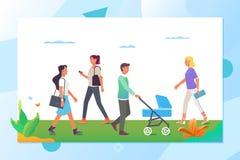走在城市公园的人们 导航动画片活跃字符以在街道的各种各样的生活方式 皇族释放例证