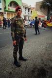 走在城市的街道上的狂欢节人群 免版税库存图片