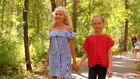 走在夏天公园的微笑的女朋友握手 走在路的两个愉快的女孩在城市天在好日子 股票视频