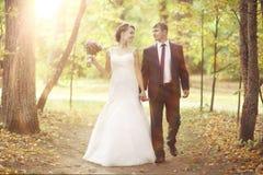 走在夏天公园的新娘和新郎 免版税库存图片