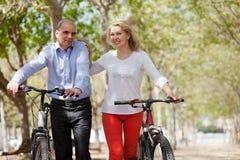 走在夏天公园的年长夫妇 免版税库存照片