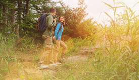 走在夏天森林里的远足者年轻夫妇 免版税库存照片