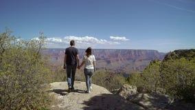 走在大峡谷的年轻夫妇 股票视频