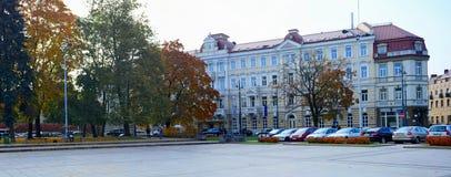 走在大教堂正方形公园在维尔纽斯市 免版税库存照片