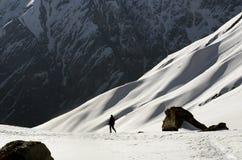 走在安纳布尔纳峰营地的游人 库存照片