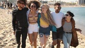 走在容忍的海滩的愉快的不同的朋友 股票录像