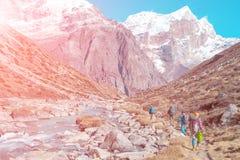 走在山背面图的小组远足者 库存图片