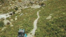 走在山行迹的寄生虫视图旅行的小组 远足山 股票视频