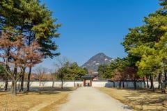 走在庭院里的12月6,2017游人在Gyeongbok宫殿,汉城 免版税库存照片