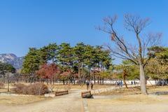走在庭院里的12月6,2017游人在Gyeongbok宫殿,汉城 免版税图库摄影