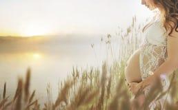 走在新鲜的夏天草甸的怀孕的夫人 免版税库存图片