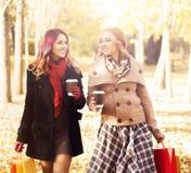 走在有五颜六色的袋子的公园的美丽的女孩 免版税库存照片