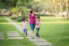 走在有愉快的儿子的公园的单亲母亲 免版税库存照片