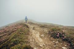 走在有雾的山道路的妇女 库存照片