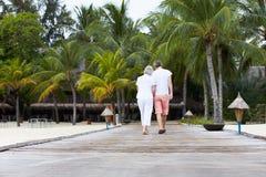 走在木跳船的资深夫妇背面图  免版税库存图片