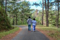 走在杉木森林里的愉快的夫妇 库存图片