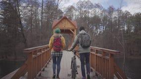 走在桥梁的两个游人在有背包的公园在他们的后面 人带领自行车和妇女  股票录像